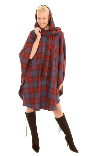 Tartan Cape  Scarf Hood (attached)