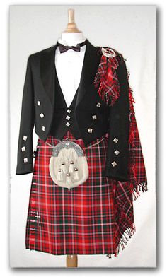 Kilt Outfit with Hand-Twist (Purled) Fringe - Fly Plaid