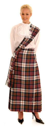 "Hostess / Evening Kilted Skirt 1"" pleats, leather straps."