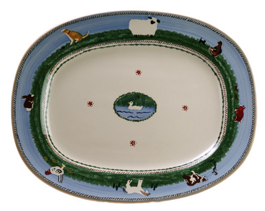 Pottery Serving Platter with Animals