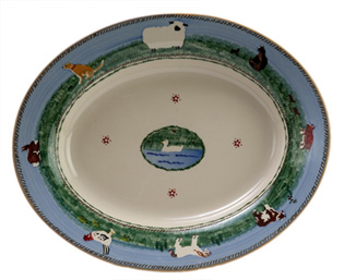 Handpainted Oval Serving Platter