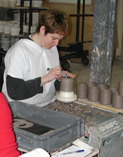 Trimming the Pottery Pieces