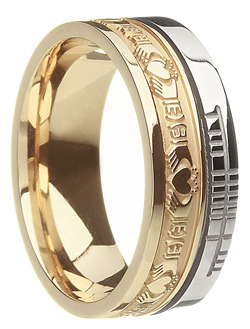 Two-Tone Faith Claddagh Wedding Band