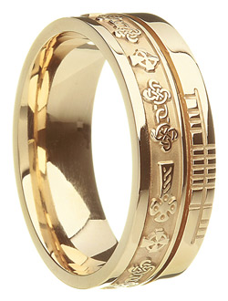 Yellow Gold Celtic Cross Faith Wedding Band
