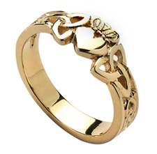 Gold Claddagh & Trinity Knot Ring