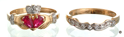 Sapphire or Ruby & Diamond Claddagh Ring Set