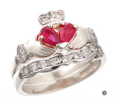 Ruby & Diamond Claddagh Engagement Ring