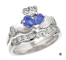 Sapphire & Diamond Claddagh Engagement Ring