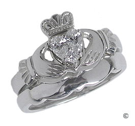 Diamond Claddagh Engagement & Wedding Ring Set