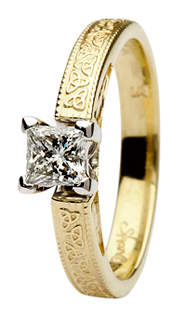 Princess Cut Diamond Trinity Knot Engagement Ring