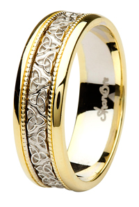 Ladies And Mens Matching Celtic Wedding Rings Trinity Knot Band Yellow Gold Trim