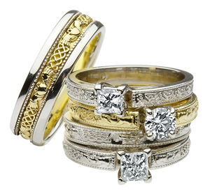 Celtic Trinity Knot Claddagh Engagement Wedding Ring Sets