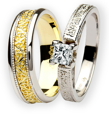 Claddagh Celtic Engagement Wedding Ring Sets