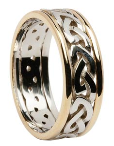 Las Two Tone Celtic Knot Wedding Band
