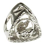 Tara's Diary Silver Claddagh Charm with Diamond Accent