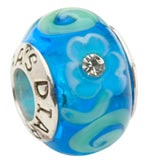 Tara's Diary Blue Glass Charm