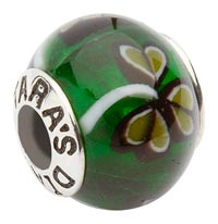 Green Glass Shamrock Charm