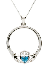Claddagh Birthstone Necklace