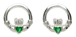 silver Claddagh earrings with simulated emerald