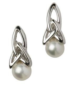 Trinity Celtic Knot Pearl Earrings