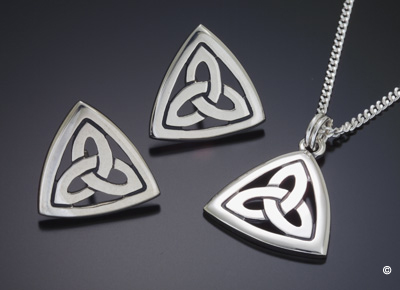 The Trinity Knot Collection - Earrings and Pendant in Sterling Silver and 9 ct Gold