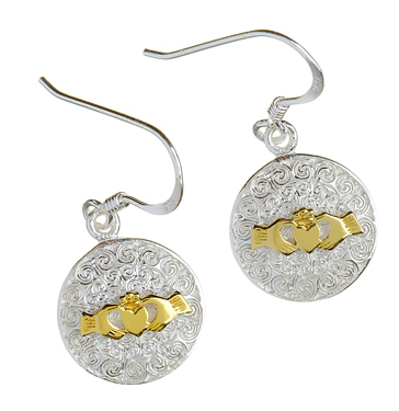 Irish Claddagh Earrings Celtic Motif in Silver and Gold