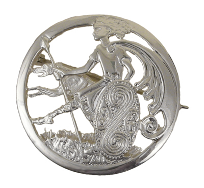 Cu Chulainn Hound of Ulster Irish Silver Pin