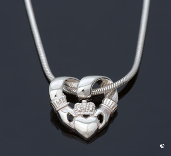 Silver Claddagh Necklace - Made in Ireland