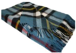 Thompson Blue Tartan Throw