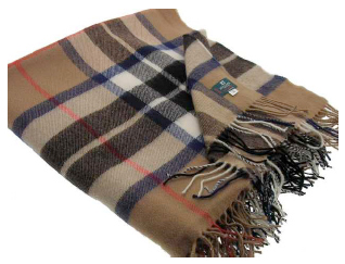 Thompson Camel Tartan Throw